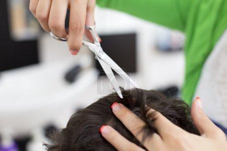 Man at hairdresser
