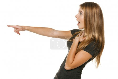 female pointing out at copyspace
