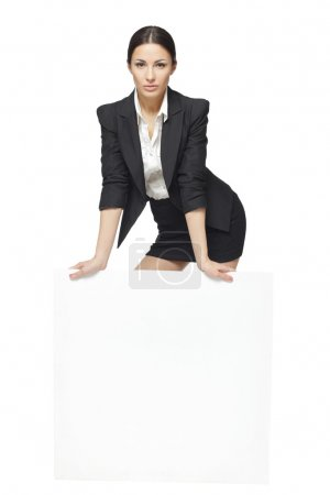 Business woman standing behind and leaning