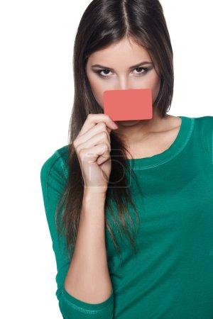 Female peeking out of blank card