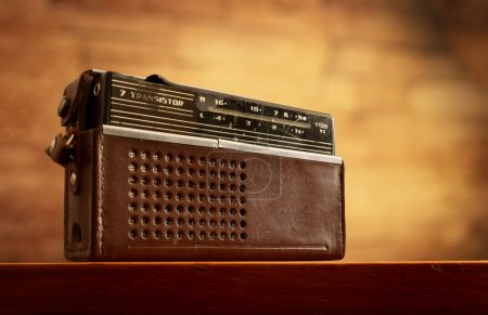 Photo for Retro radio on grunge blurred wall background - Royalty Free Image