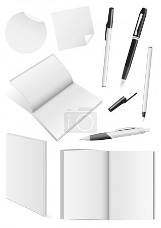 Blank writing tools and book mock-ups