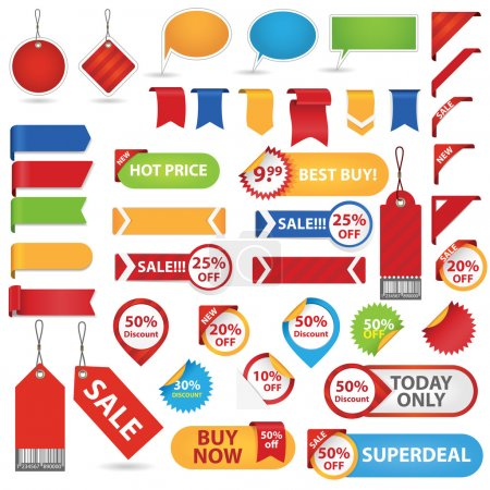 Illustration for Big Set of Sale Stickers, Labels And Ribbons. Isolated On White Background - Royalty Free Image