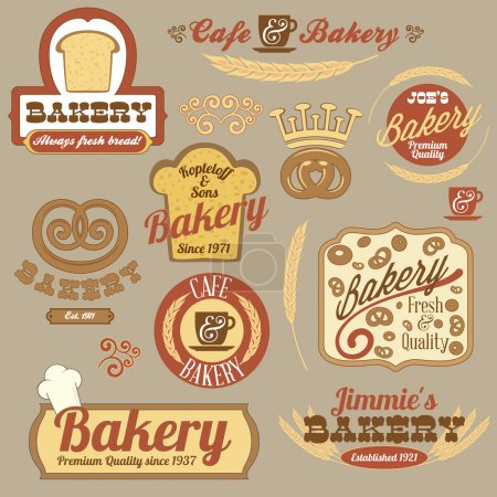 Vintage retro bakery logo badges
