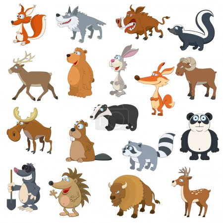 Illustration for Forest animals set on white background - Royalty Free Image