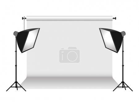 Illustration pour Deux softbox et fond isolé sur blanc - image libre de droit