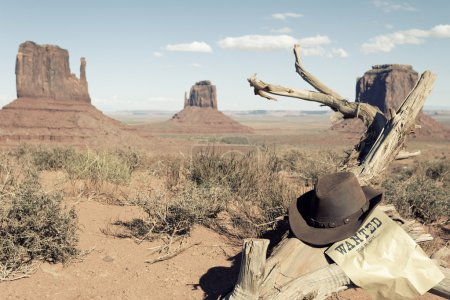 cowboy hat in front of Monument Valley