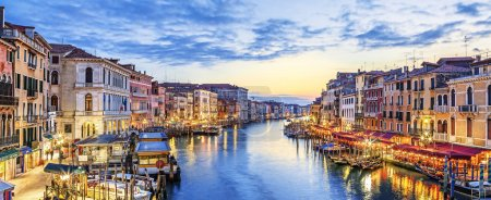 Photo for Panoramic view of famous Grand Canal at sunset, Venice - Royalty Free Image