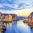 Panoramic view of famous Grand Canal at sunset, Ve...