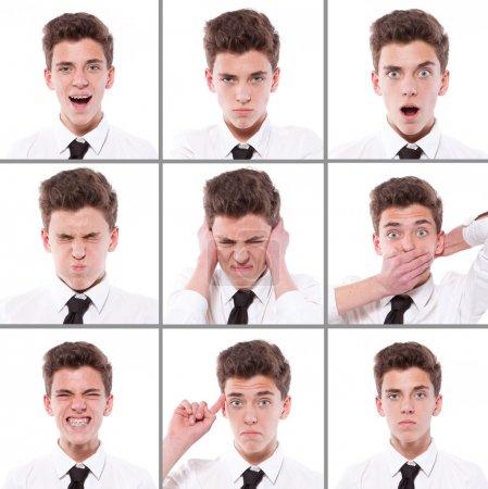 Photo pour Beaucoup de différentes expressions de garçons collage - image libre de droit