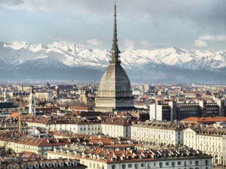 City of Turin skyline panorama seen from the hill...
