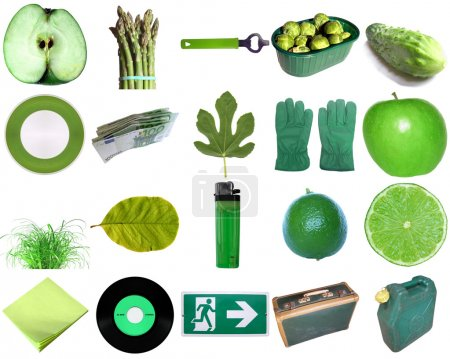 Photo for Green colour theme - a collection of objects - Royalty Free Image