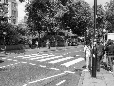 Black and white Abbey Road London UK