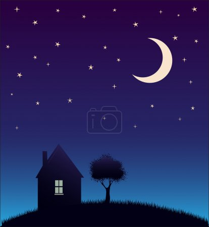 Illustration for House and tree and night sky with stars and moon - Royalty Free Image