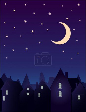 Illustration for Silhouette of the city and night sky with stars and moon. - Royalty Free Image