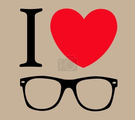 Print I love sunglasses vector illustration backgr...