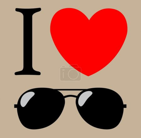 Print I love sunglasses vector illustration background