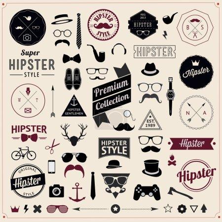 Illustration pour Ensemble d'icônes de style vintage Hipster. Illustration vectorielle arrière plan - image libre de droit