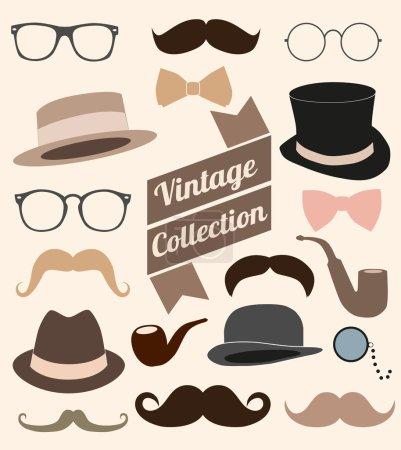 Set collection vintage elements. Hat, glasses, mus...