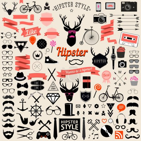 Illustration for Huge set of vintage styled design hipster icons. signs and symbols templates for your design.The largest set of bicycle, phone, gadgets, sunglasses, moustache, anchor, ribbons and other things. - Royalty Free Image
