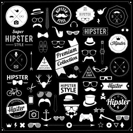 Huge set of vintage styled design hipster icons.