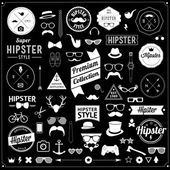 Huge set of vintage styled design hipster icons signs and symbols templates for your designThe largest set of bicycle phone gadgets sunglasses moustache anchor ribbons and other things