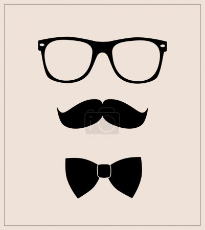 Hipster style set bow tie, glasses and moustaches
