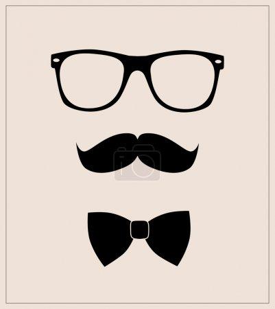 hipster style défini noeud papillon, des lunettes et des moustaches
