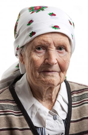Portrait of senior woman over white