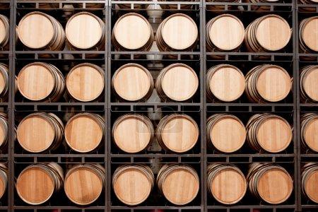 Wine barrels in stack