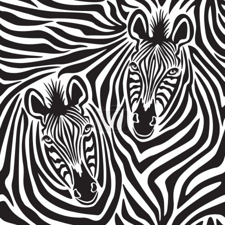 Illustration for Seamless pattern of a pair of zebras. - Royalty Free Image