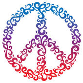 Vector peace symbol in a retro floral design