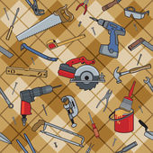 Home construction and repair tools on a seamless plaid pattern AI8 eps file: CMYK colors used Tools are grouped and pattern is on separate layer for easy editing