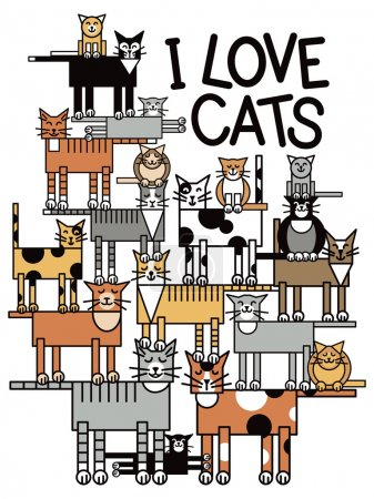 Illustration for Design of a group of talented, cute cats performing a balancing act, with the words: I Love Cats. Typestyle is my own design. - Royalty Free Image