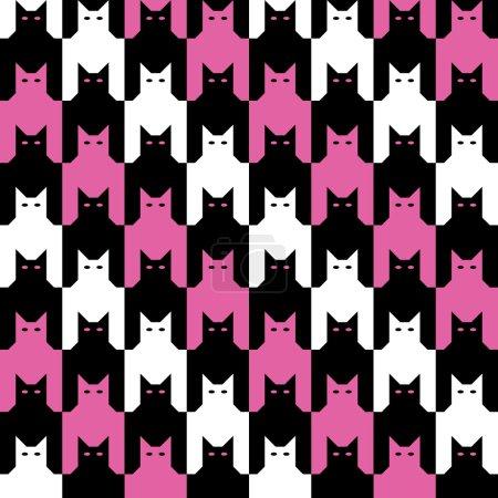 Illustration pour Les chats sans couture traquent le motif des dents en alternant des bandes diagonales de magenta, noir et blanc . - image libre de droit