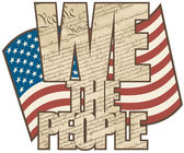 WE THE PEOPLE text design filled with the Constitution of the United States with the American Flag in the background in aged colors