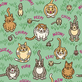 Seamless pattern of cute cats and other creatures and the sounds they make