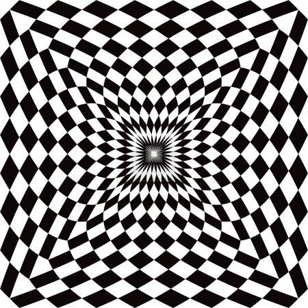 Illustration pour Le motif optique à carreaux en noir et blanc se répète également de manière transparente . - image libre de droit