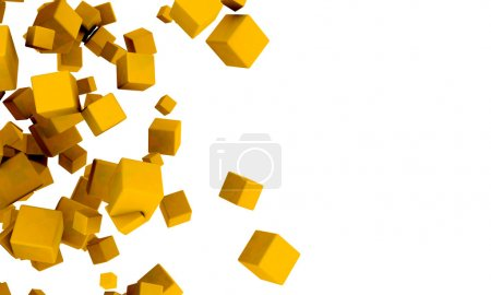 Abstract 3d yellow or golden cubes