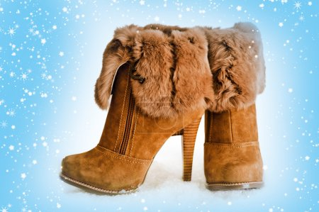 Brown high heels ankle boots with fur