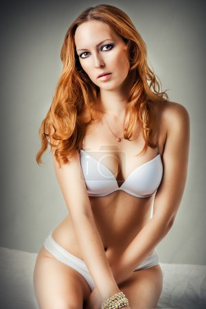 woman wearing sexy white lingerie