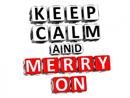 Photo for 3D Keep Calm And Merry On Button Click Here Block Text over white background - Royalty Free Image