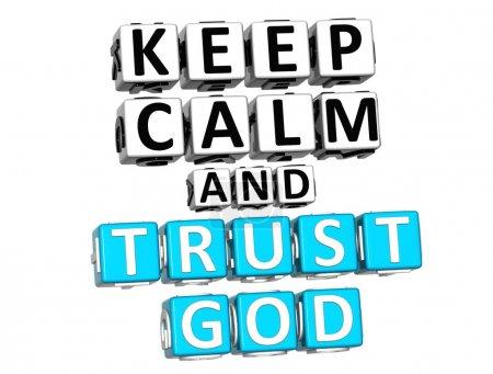 Photo pour 3D donjon de calme et de confiance Dieu bouton cliquez ici bloc texte sur fond blanc - image libre de droit