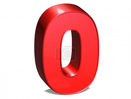 3D Number Zero on white background