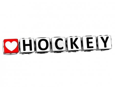 Photo pour 3D I Love Hockey Bouton de jeu Bloquer le texte sur fond blanc - image libre de droit