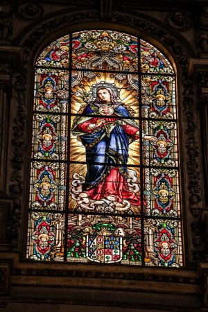 Stained glass window in the Mezquita cathedral in Cordoba, Spain, Andalusia