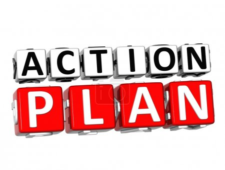 Photo for 3D Action Plan Button Click Here Block Text over white background - Royalty Free Image