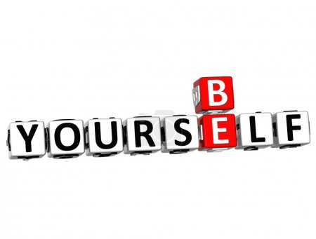 3D Be Yourself Crossword on white background