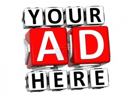 3D Your Ad Here Button Click Here Block Text