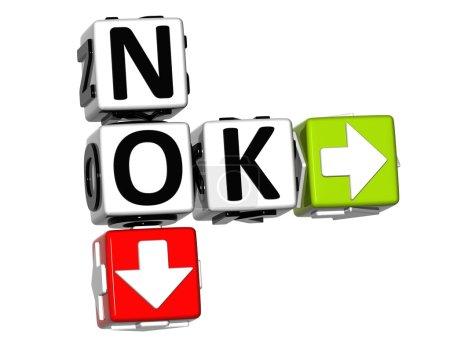Photo pour 3D Non Ok Mots croisés sur fond blanc - image libre de droit
